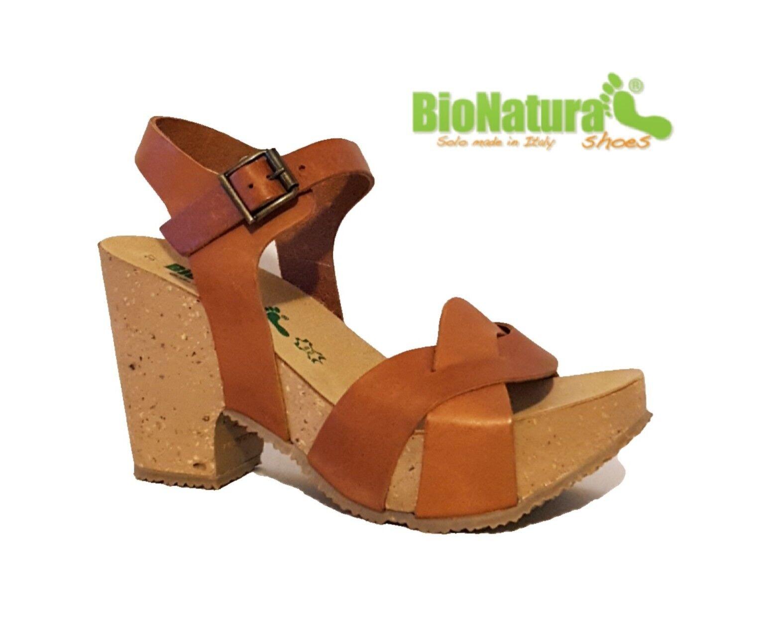 47c90808cf3 Bionatura Vacchetta Brandy 36A946 Bronceado Sandalias De Cuña De Cuero Genuino  Marrón