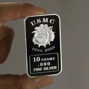 10 Grams 999 Fine Silver Art Bullion Bar Usmc Devil