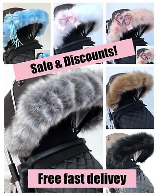 Pink For-Your-Little-One Fur Hood Trim Pram Compatible on Kiddicare.com