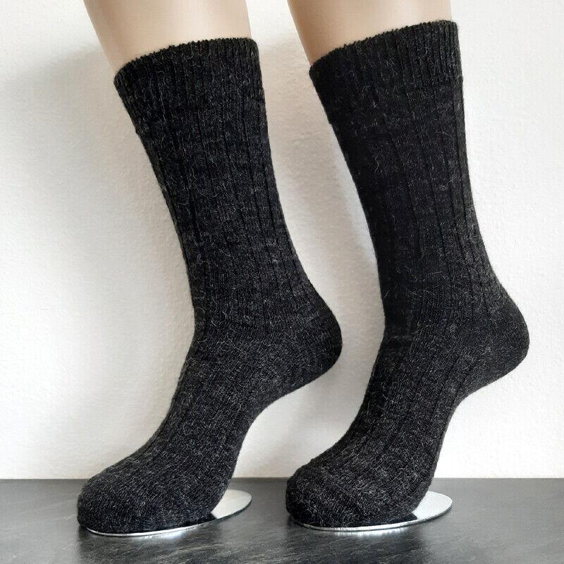 2 Paar Damen Soft Alpaka Socken extra weich 100% Wolle Dunkelgrau 35 bis 42