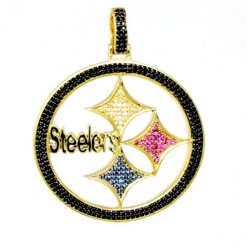 "Custom Pendant 10K Yellow On .925 Silver Pittsburgh Steelers Diamond Charm 2.5/"""