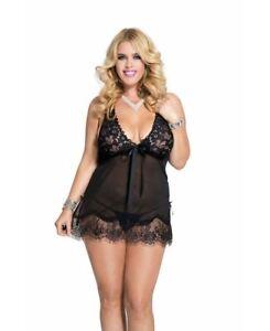 Music-Legs-Women-039-s-Plus-Size-Lace-Babydoll-Side-Slits-Black-One-Size