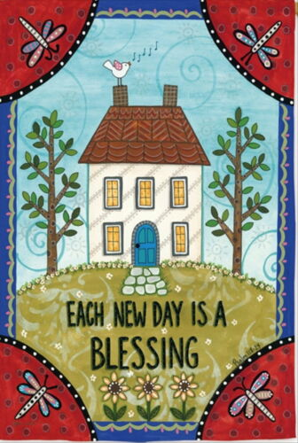 NEW LG EVERGREEN TWO-SIDED FLAG EACH NEW DAY IS A BLESSING SERVE LORD  29 X 43