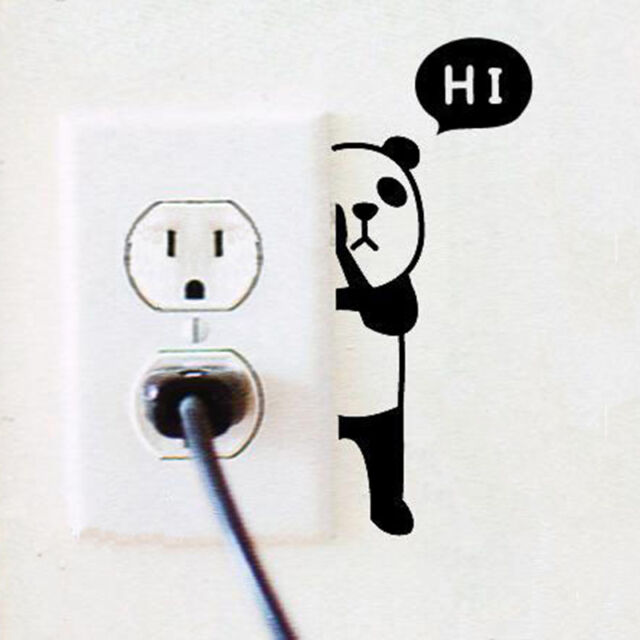 Panda Switch Sticker Wall Quote Wall Stickers Vinyl Decor Decals Home Mural.JNMO