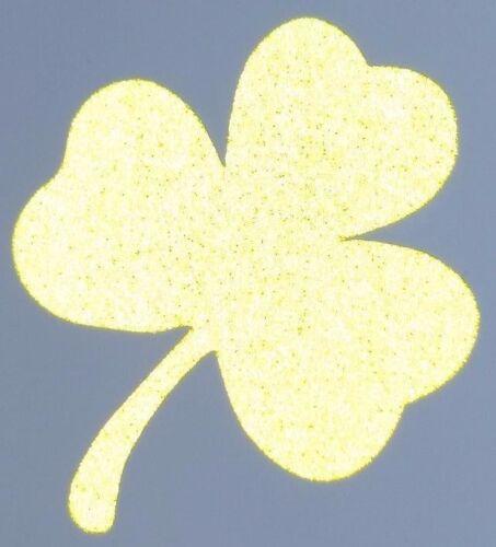 4 Fluorescent Yellow Reflective Vinyl Clover Shamrock Fire Helmet Decals 2 inch