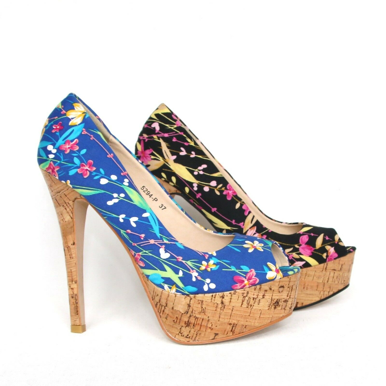 Damen Plateau High Heels Pumps Peeptoes Sandaletten Stilettos Shoes 5294-P