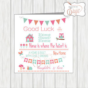 Details about New Home Is Where The Heart Is Card Sentiments & Quotes,  Bunting Flowers House