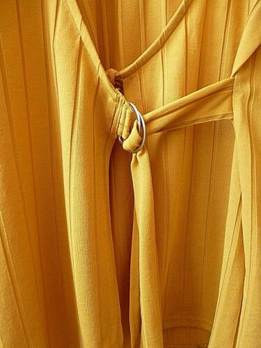 New Womens Mustard Yellow Ribbed D-Ring Belted Front Wrap Top Plus Size 18-24