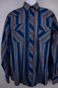 WRANGLER-RUSTLER-VTG-Western-Cowboy-Rodeo-PEARL-SNAP-Shirt-Blue-Striped-Mens-M