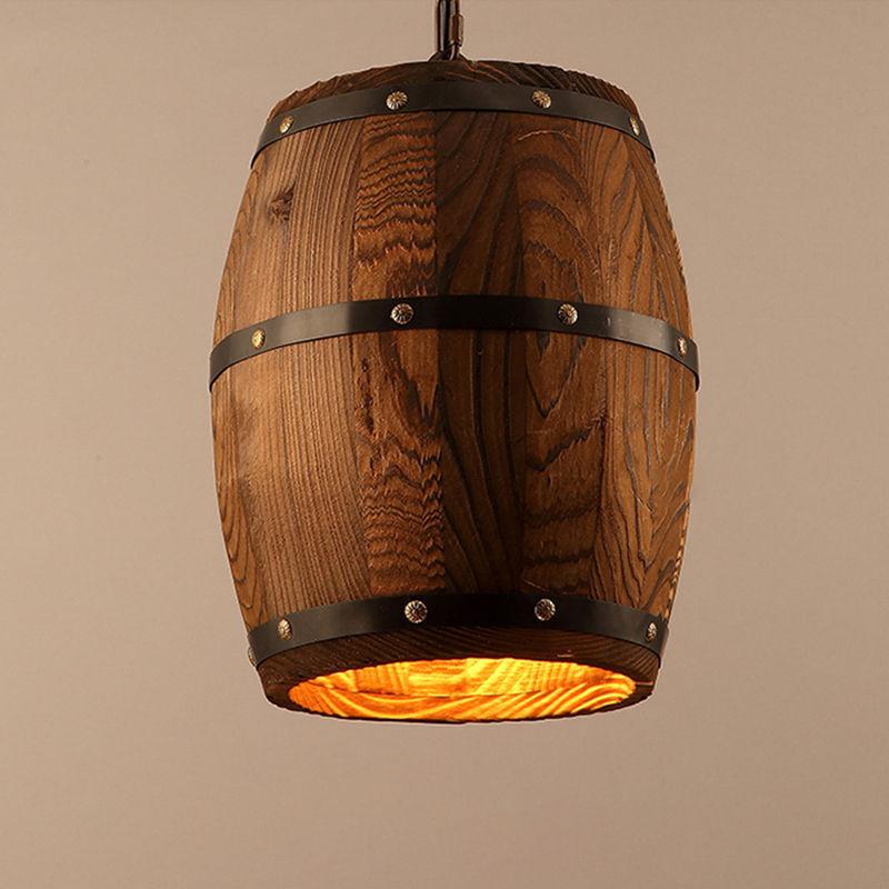 Hanging Wood Wine Barrel Fixture Ceiling Pendant Lamp