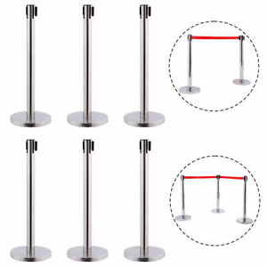 6-Red-Belt-Stanchion-Queue-Rope-Barrier-Posts-Stand-Retractable-Polished-Steel