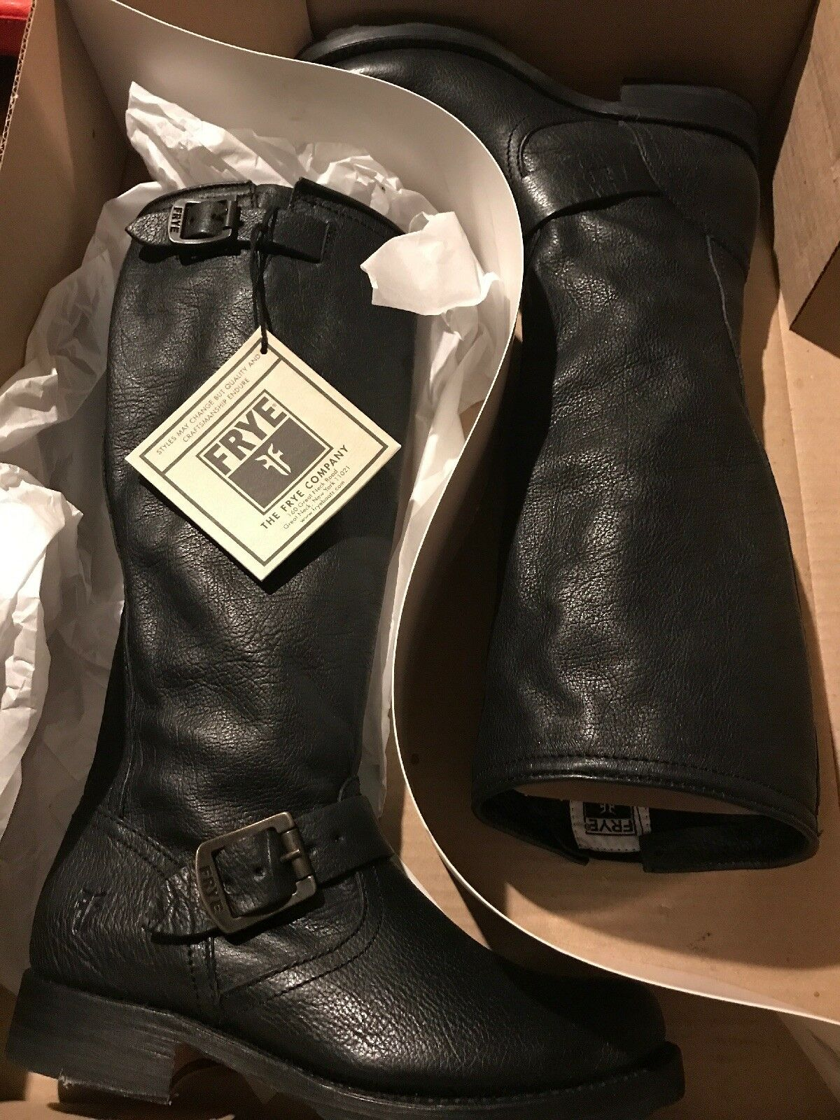 Frye Veronica Slouch Black Extended Tumble Boots