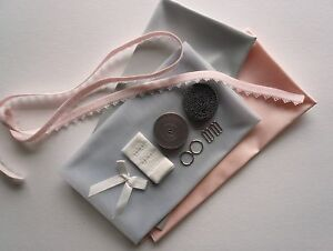Bralette-Making-Kit-Inc-Fabric-and-Notions-Pink-amp-Silver-Satin-Sewing-Craft