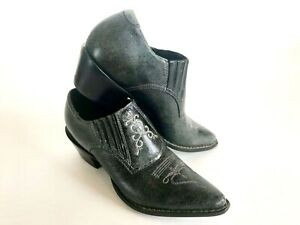 Durango-Charcoal-Western-Ankle-Leather-Booties-Women-039-s-7-Pointy-Embroidered-HOT