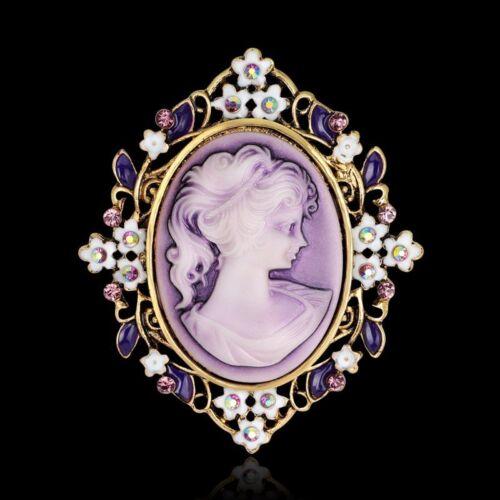 Cabeza de belleza flor encanto Cameo reina Cristal Broche Pin boda nupcial Joyas