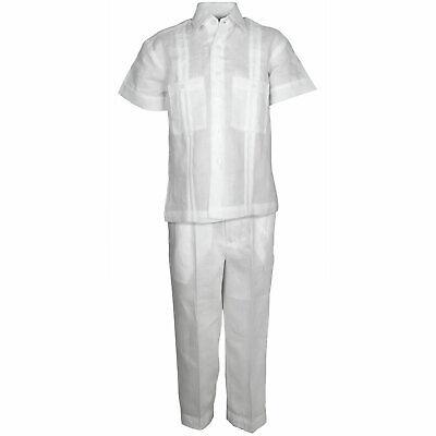Toddler Black 100/% Linen Set 2PC Guayabera One Pocket Shirt /& Pant Size 2T to 4T