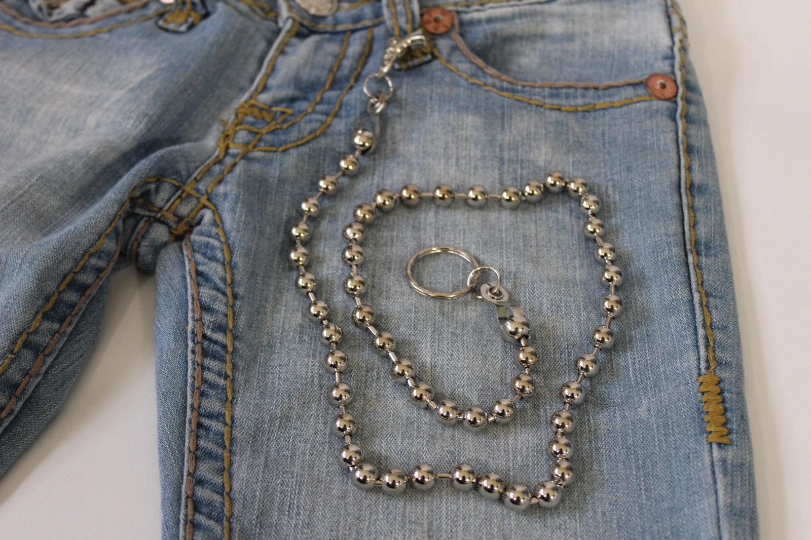 Herren Extra Lang Silber Metal BALLS Anhänger Portemonnaie Kette  | Ausgezeichnetes Preis