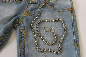 New Men Extra Long Silver Metal Balls Wallet Chain KeyChain Biker Jean Trucker S