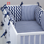 8 pc cot //cot bed bedding sets PILLOW BUMPER CASES stars crowns blue grey pink