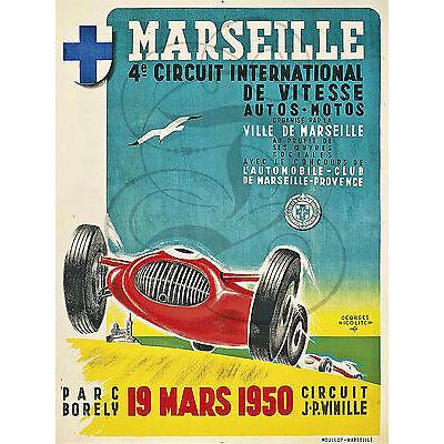 PLAQUE ALU REPRODUISANT UNE AFFICHE MARSEILLE CIRCUIT INTERNATIONAL 19 MARS 1950