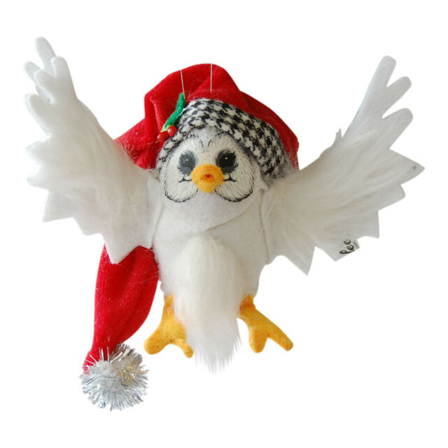 """CLASSY Christmas OWL ORNAMENT 3"""" HOLIDAY Soft Unbreakable BIRD Annalee 2014 NEW!"""