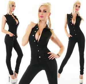 online store b7d60 02bca Dettagli su Tuta jeans nera donna elasticizzata aderente overall skinny  smanicata nuova