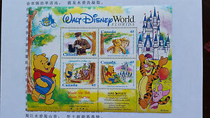 WINNIE-THE-POOH-CANADIAN-POSTAGE-STAMP-SHEET-Walt-Disney-World-Florida