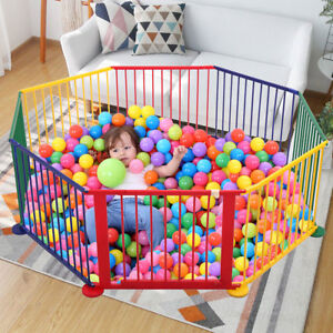 Baby Kids Portable Pet Outdoors 8 Panel Play Pen Safety