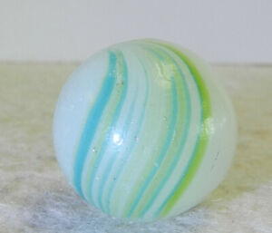 #12588m Large .80 Inches Vintage German Handmade Banded Opaque Marble Near Mint