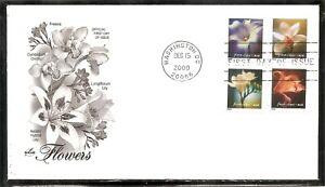 US-SC-3454-3457-Flowers-FDC-Artcraft-Cachet