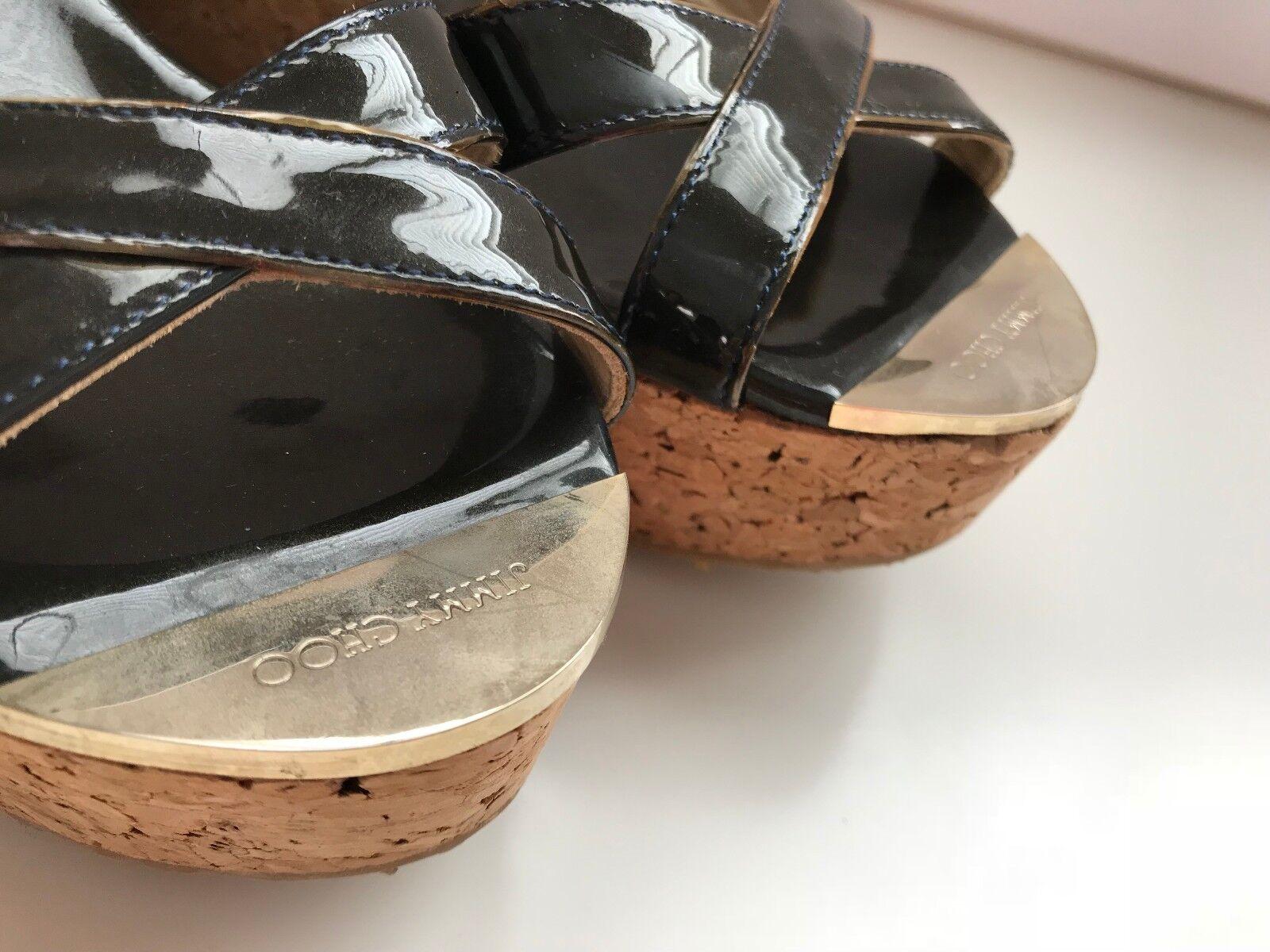 JIMMY CHOO nero Patent LEATHER WEDGE Platform SANDALS SANDALS SANDALS 35 Crisscross Heel scarpe 923192
