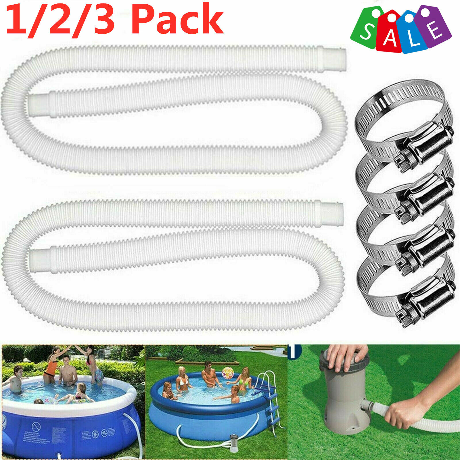 1/2/3 Pack 59'' Filter Pump Hoses Swimming Pool Replacement Above Ground Hose
