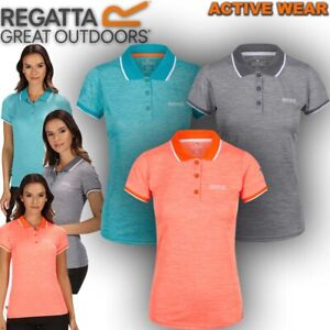 Regatta-Polo-T-Shirt-Womens-Casual-Tee-Outdoor-Hiking-Work-Gym-Sport-Top-Remex