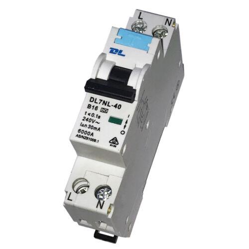 Commutateur De Protection De Ligne FI//LS RCBO b16a 30 mA 6ka 1-p Erreur d/'Alimentation Disjoncteurs m