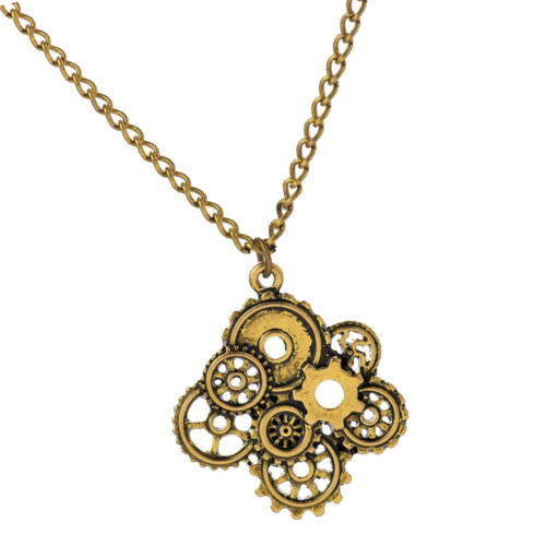 Steampunk Necklace Skeleton Gear Pendant Gothic Punk Jewelry Antique Gold