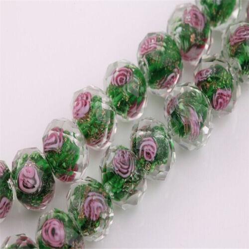 Murano Cristal 10PCS Redondo Facetado encantos suelto espaciador granos Flor Joyería Hacer
