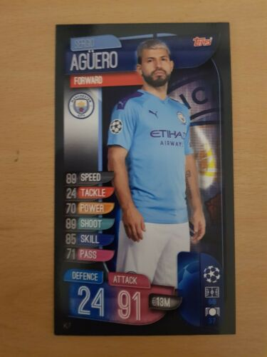Sergio Agüero Match Attax 2019//20 UEFA Champions League Gran Tamaño XL XL7 tarjeta