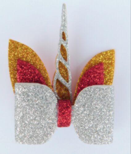 Unicorn Christmas Glitter Hair Bow Alligator Clip Girls Hair Accessory