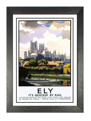Ely Cathedral Railway Old Advert Poster Anglican Cambridgeshire Photo Holiday