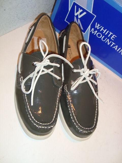 WEISS Mountain NEU Damenschuhe Headsail Charcoal Patent Loafers Schuhes 10 Medium