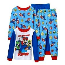 Boys 4 Pc SUPER MARIO Sz 10 PAJAMAS Shirt & Pants Sleepwear Pjs Mario Luigi NWT