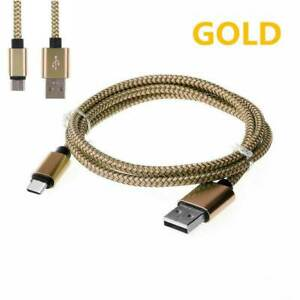Gold 25cm Micro USB 3.1 Fast Charging Data Cable Nylon Braided MicroUSB to USB