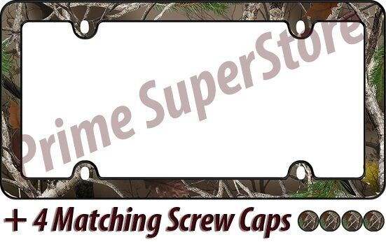 Camo-Girl Chrome Plastic License Plate Frame Screw Bolt Caps for Car-Truck