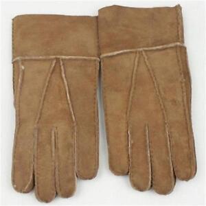 Hot-sell-Men-039-s-Winter-Genuine-Brown-Sheepskin-Leather-Shearling-Fur-Warm-Gloves