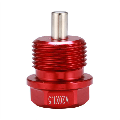 M20X1.5mm RED Anodized Magnetic Engine Oil Pan Drain Plug Bolt Washer Kit