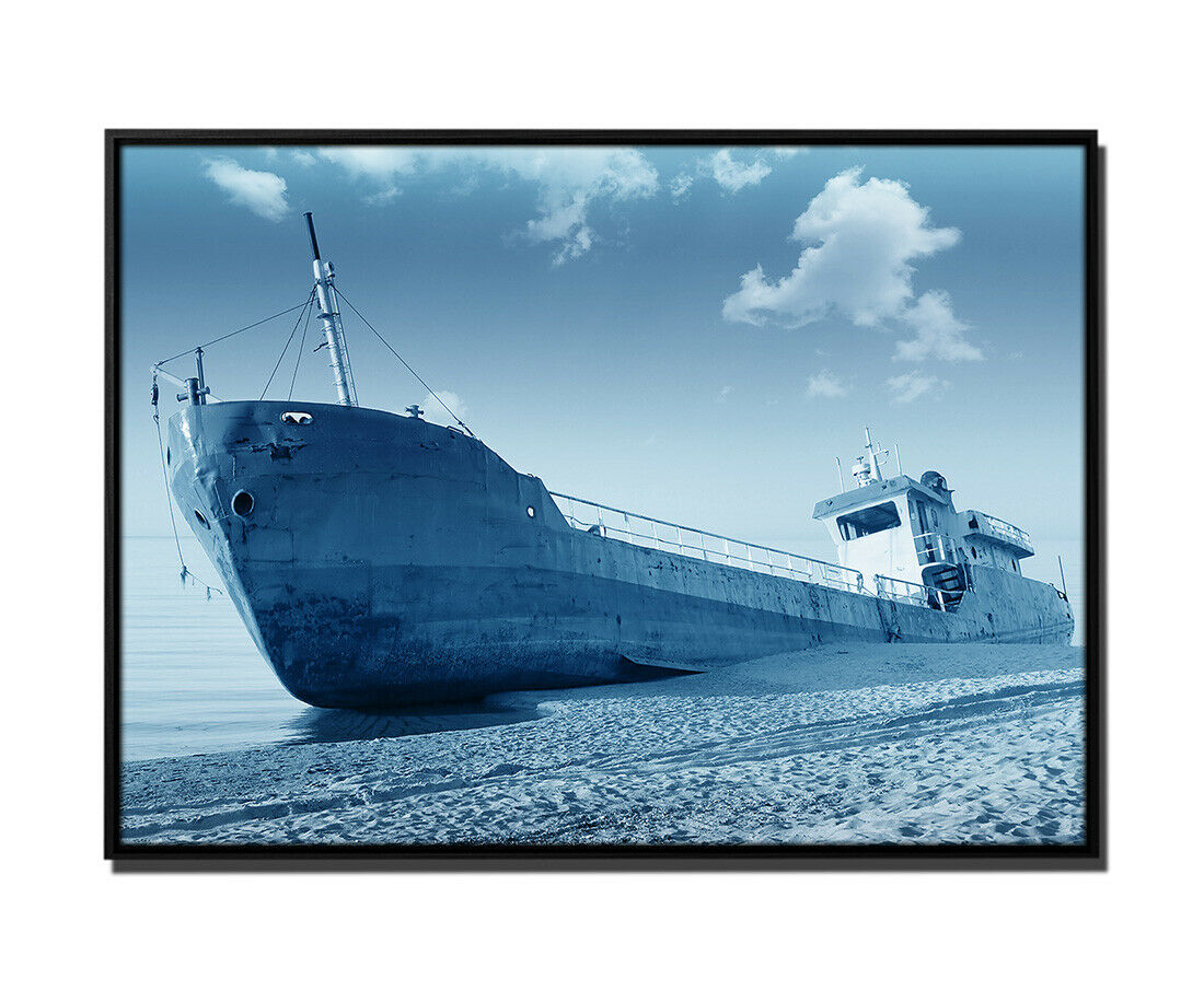 105x75cm tela petrolio peschereccio SPIAGGIA CIELO