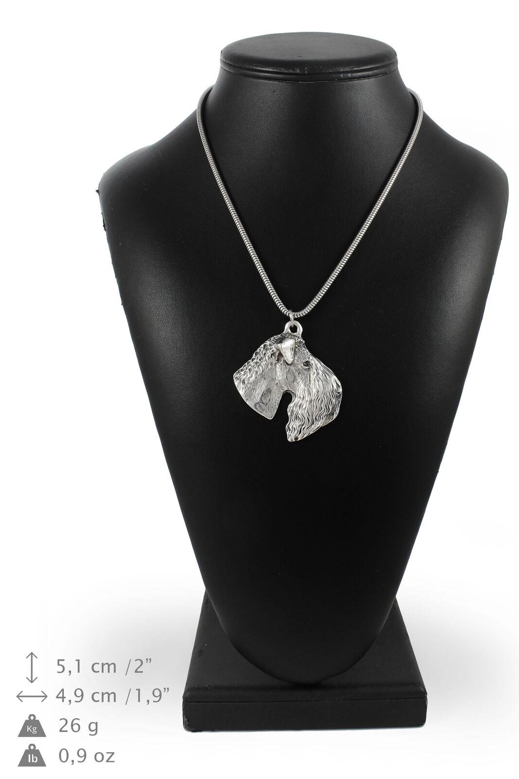 Terrier Kerry Blue  argent plaqué collier sur une cordon en argent Art Dog FR