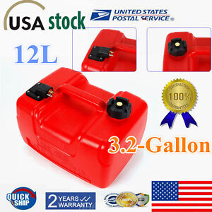 New! 3.2 Gallon Portable Outboard Boat Marine Fuel Gas Tank 12L Plastic Oil Tank