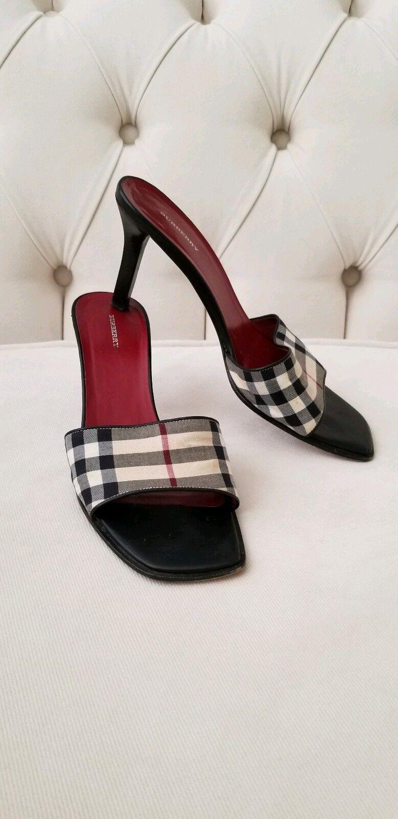 BURBERRY 8.5 M Black Classic Plaid Slide on Sandals Heels Heels Heels Canvas & Leather 38.5 6c41e4