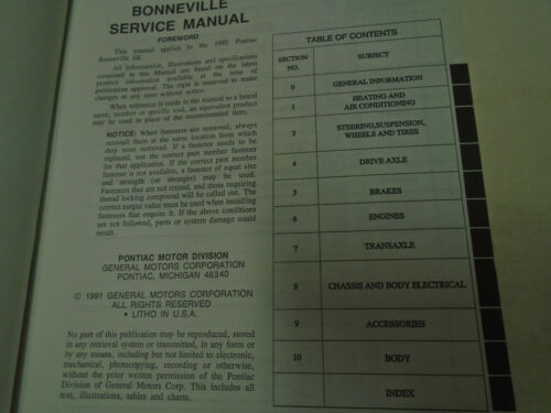 1992 Pontiac Bonneville SE Service Shop Repair Manual Factory OEM Book Used